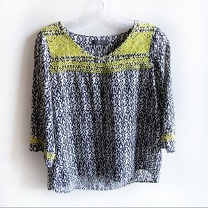 THML black and white print shirt embroidery yellow